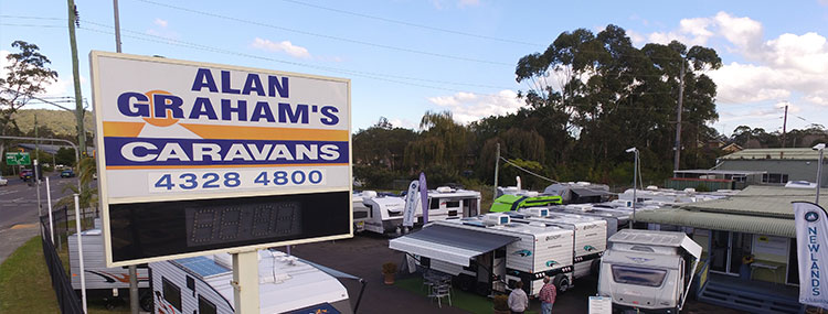 Signboard outside Alan Graham's caravan stock