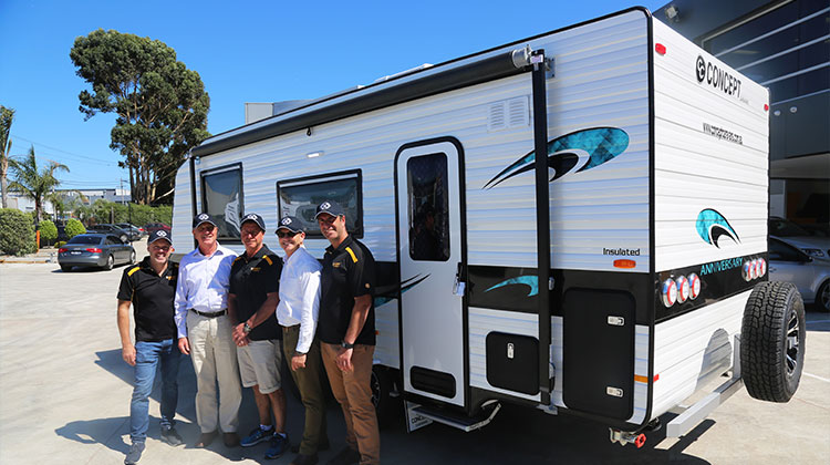 Alan Graham's staff and a Concept caravan