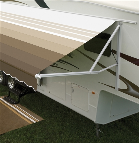 A awning caravan made from acrylic fabric