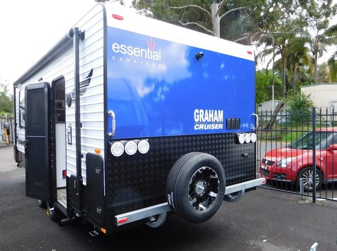 An exterior design of Grant Cruiser Essential caravan