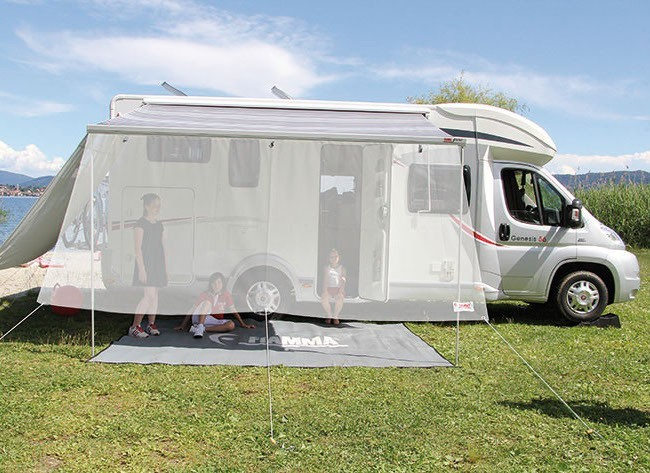 An awning caraban made from mesh fine